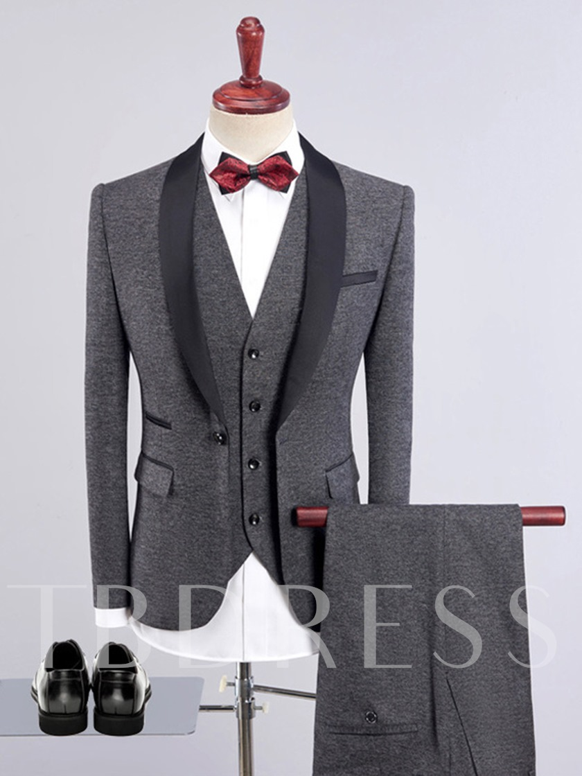 Blue/Khaki/Black/Army Green/Gray/Burgundy Color Contrast Trim Three Piece Men's Dress Suit