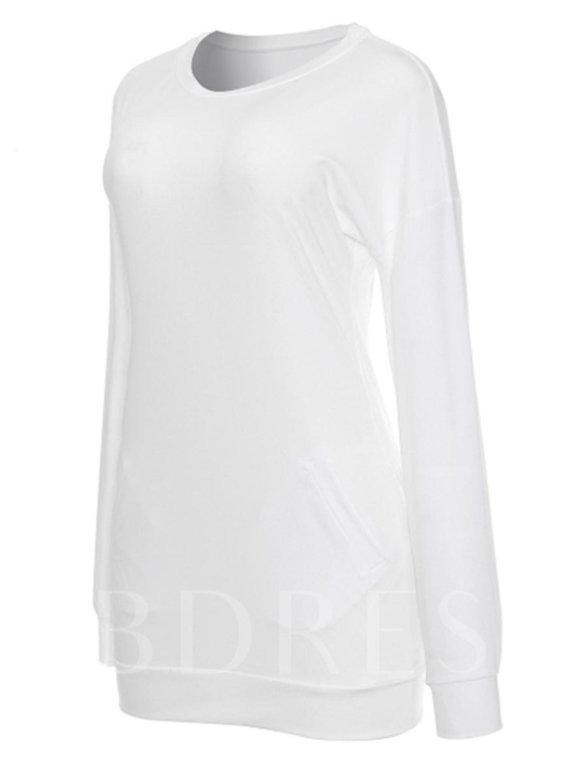Solid Color Tunic Women's T-Shirt With Pocket
