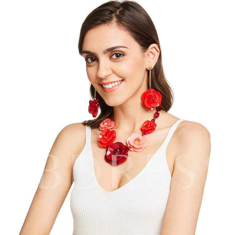 Link Chain Flower Acrylic All Match Necklace