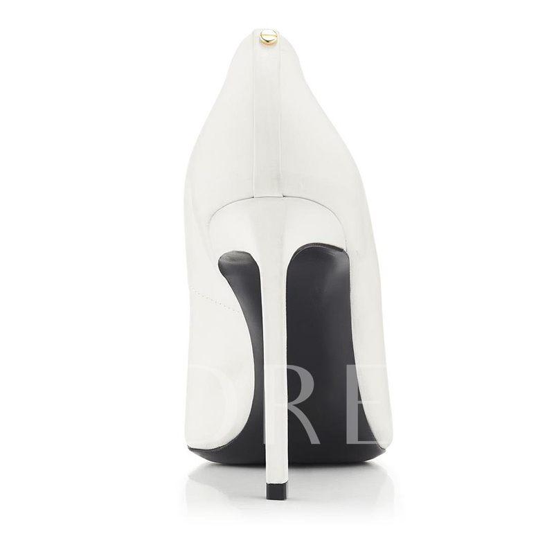 Pointed Toe White Pull On Classic Shoes for Women