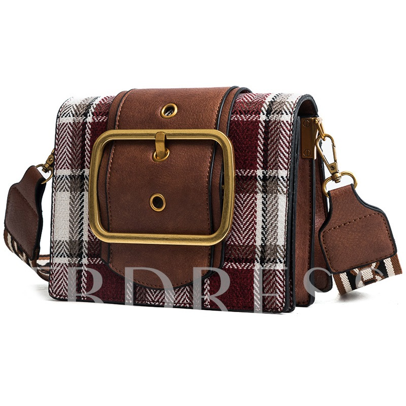 Trendy Belt Decorated Plaid Crossbody Bag