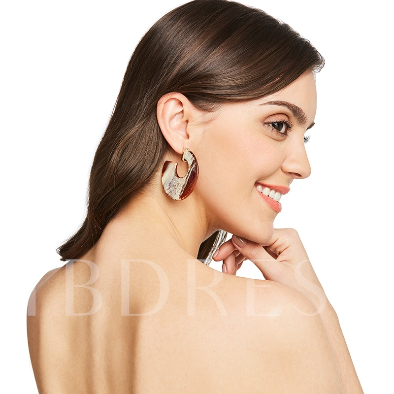 Alloy Geometric Openings Semicircle Acrylic Earrings