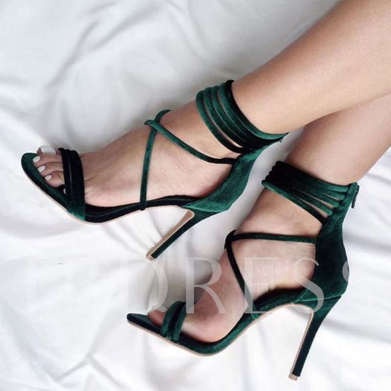 Velvet Lace Up Zipper High Heel Sandals for Women