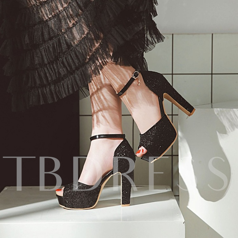 Chunky Heel Platform Peep Toe T-Shaped Buckle Banquet Wedding Shoes