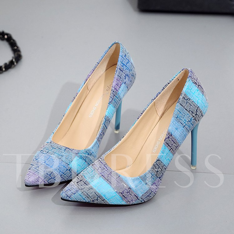 Color Block Stripe Shoes High Heel Pumps for Women
