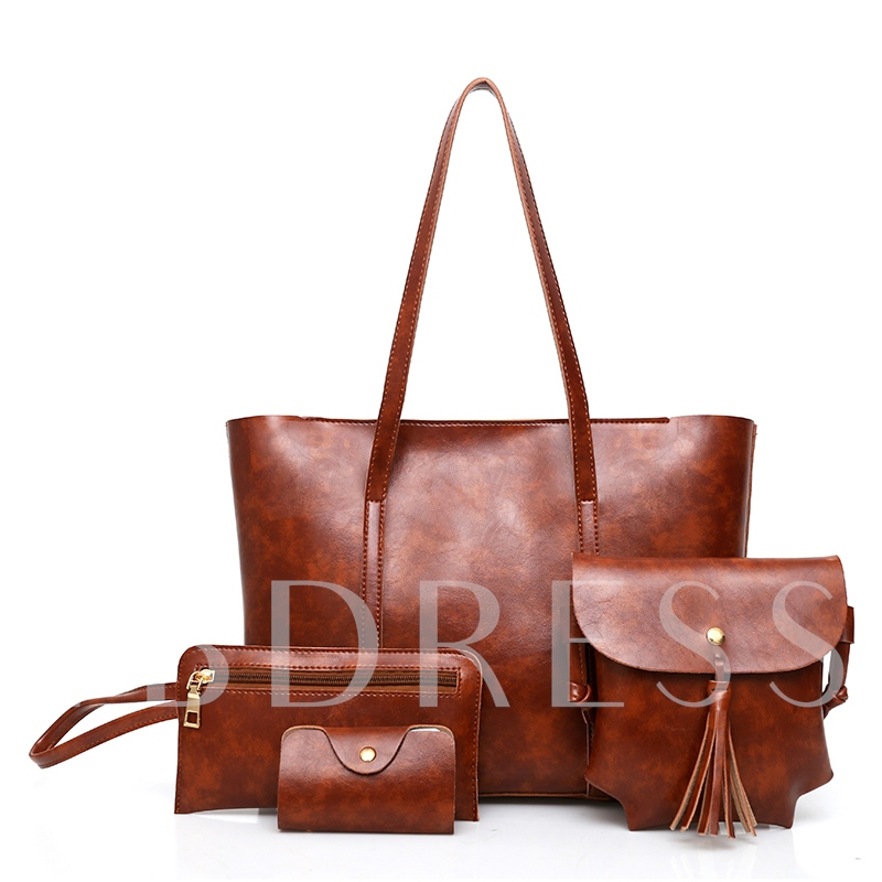 Concise Plain PU Women Handbag ( 4 Bag Set)