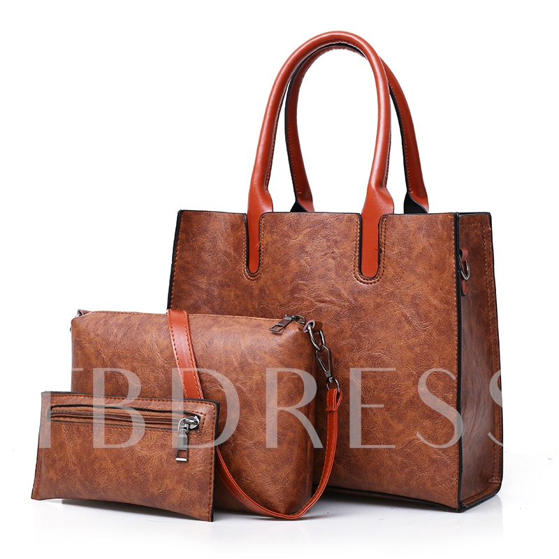 Vintage Plain PU Women Bag Set
