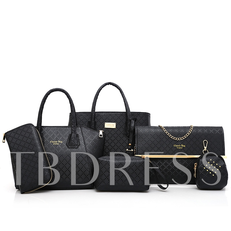 Classic Quilted Lining Pattern Women Bag Set