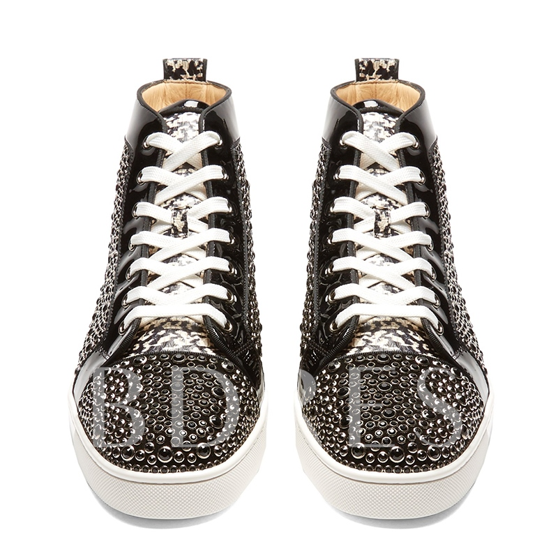 Leopart Rhinestone Tie Up Men's High Tops