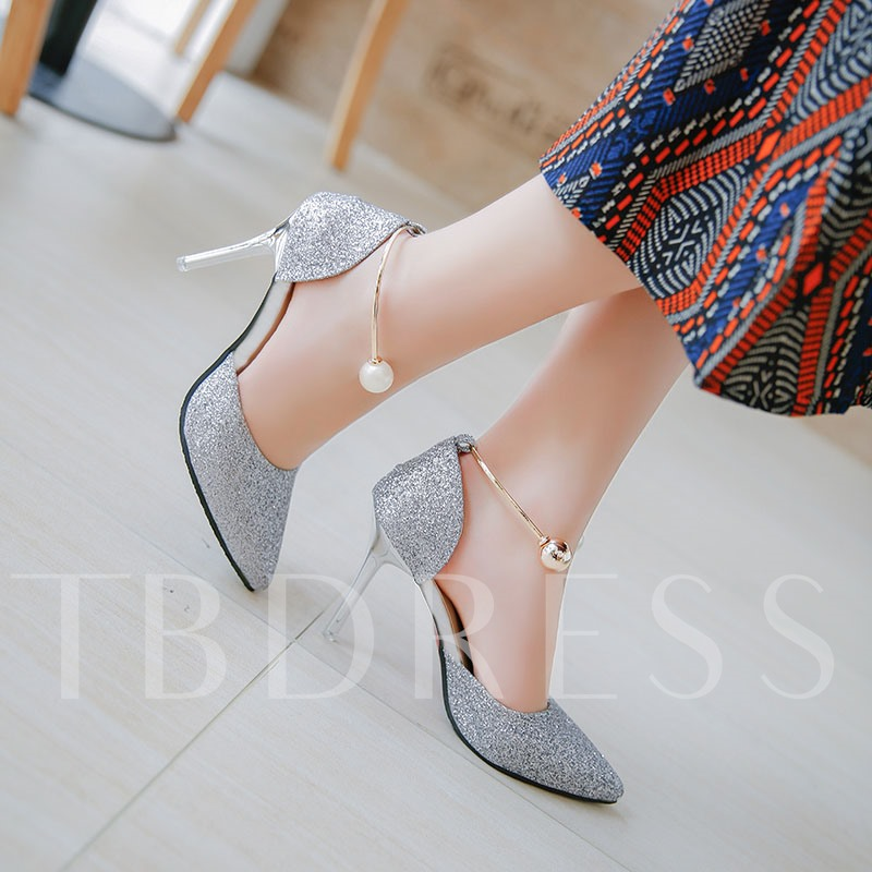 Pointed Toe Slip-On Beads Rhinestone Banquet Women's Pumps