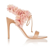 Floral Ankle Strap Open Toe Pink Shoes