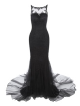 Scoop Neck Backless Lace Mermaid Evening Dress
