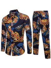 African Fashion Lapel Linen Print Slim Men's Leisure Suit