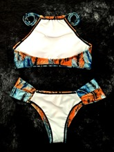 Gradient Feathers Print Women's Bikini Set