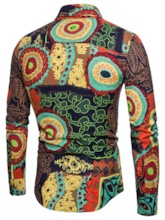 African Fashion Linen Lapel Floral Print Men's Leisure Suit