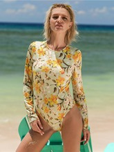 Long Sleeve Floral Print Women's One Piece Swimsuit