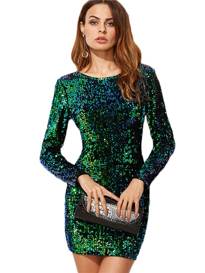 Long Sleeve V Back Sequin Women's Party Dress