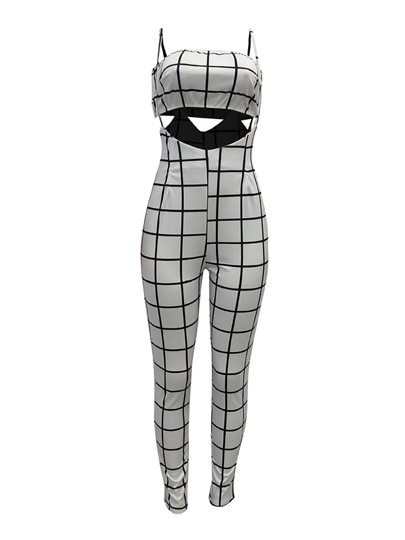 Plaid Hollow Crop Top & Pants Set