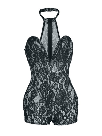 Sexy Hollow Lace Women's Romper