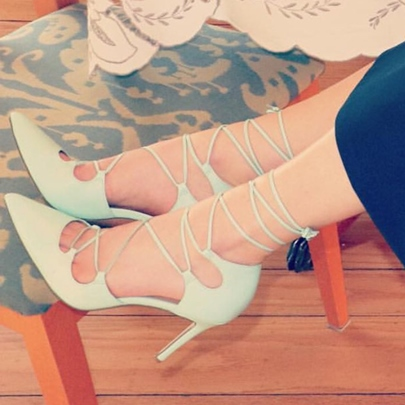 Strappy Tie Up Pointed Toe Light Green Pumps