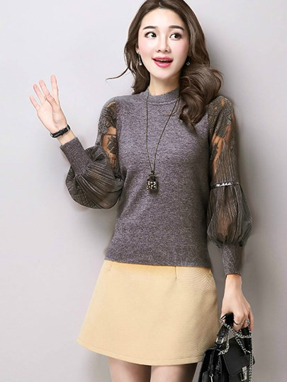 High Collar Lantern Sleeve Women's Knitted Top
