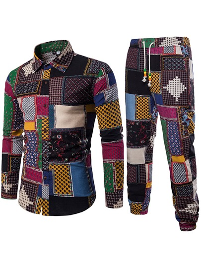 Lapel Ethnic Patchwork Slim Men's Leisure Suit