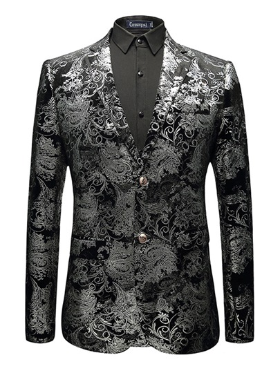 Notched Collar Floral Men's Blazer