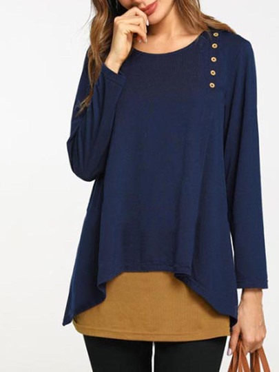 Plus Size Available Tunic Women's Blouse With Button