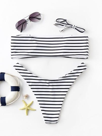 Striped Pure Color Bandeau Adjustable Strap Women's Bikini Set