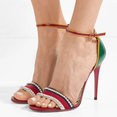 Color Block Line Buckle Rhinestone High With Sandals