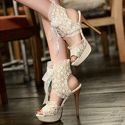 Lace Tie Up Platform Weeding Shoes High Heels for Women