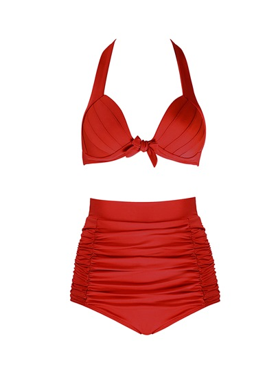 Plain High Waisted Swimsuit Ruffle Pleated Women's Bikini Set