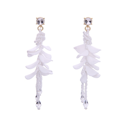 Beads Rhinestone Flower Tassel Earrings