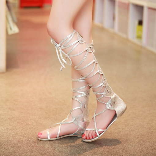 Thong Cross Strap Knee High Sandals for Women