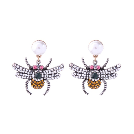 Bee Shaped Imitation Pearl Retro Earrings