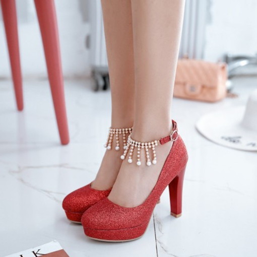 Glitter Shoes Beadworks High Heel Platform Shoes