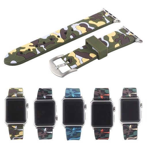 nouveau sangle de couleur camouflage sangle bracelet en silicone pour apple watch