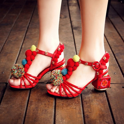 Pom Pom Buckle Vintage Style Shoes Chunky Heel Sandals