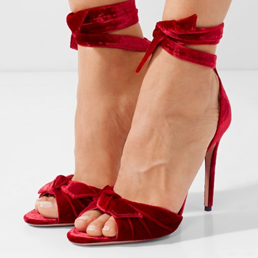Suede Knot Ankle Tie Up Women's Burgundy Sandals