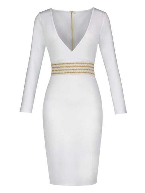 White V Neck Women's Sheath Dress