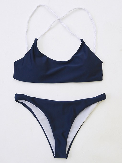 Lace-Up Pure Color Women's Bikini Set