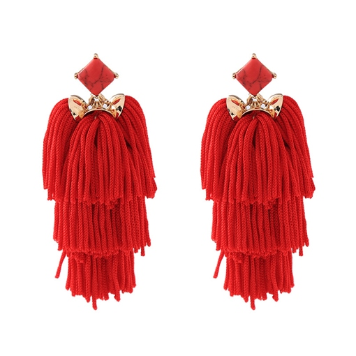 Red Tassel Handmade Bohemian Earrings