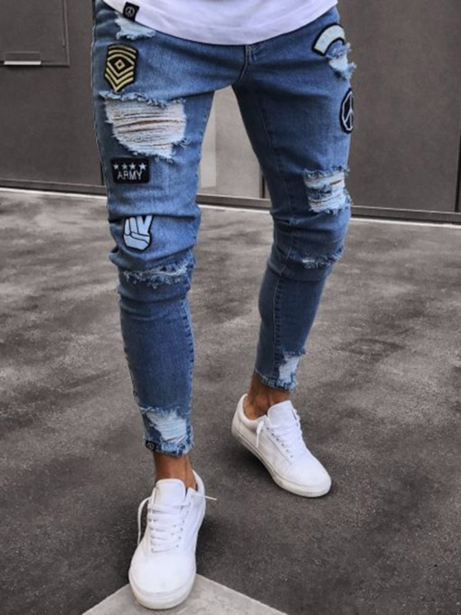 Hole Badge Print Slim Fit Men's Jeans
