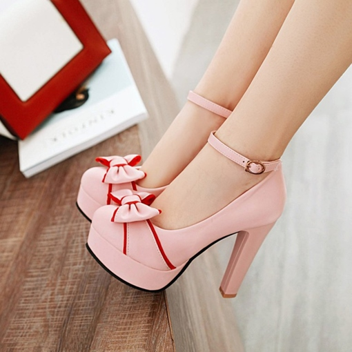 Color Block Round Toe Line Buckle Shoes Bow Pumps