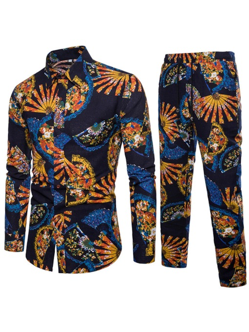 Lapel Linen Print Slim Men's Leisure Suit