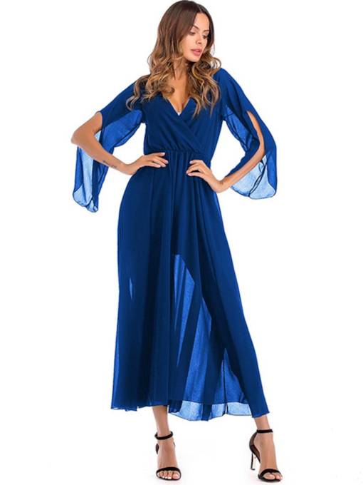 Chiffon V Neck Pleated Women's Maxi Dress