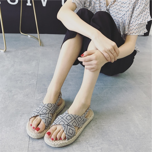 Slingback Strap Linen Platform Fisherman Shoes for Women