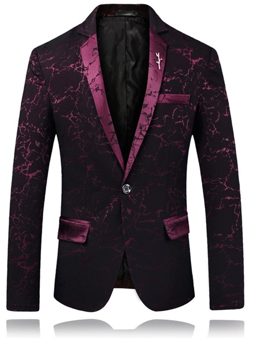 One Button Contrast Trim Men's Blazer