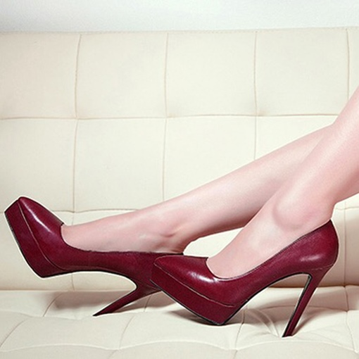 Pointed Toe Platform Women's Burgundy High Heels