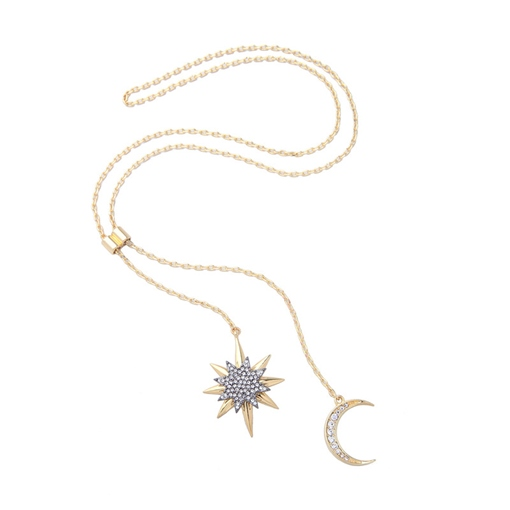 Moon Star Diamante Link Chain Necklace